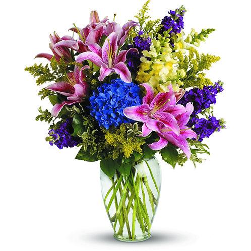 Mixed Brights Vased Arrangement