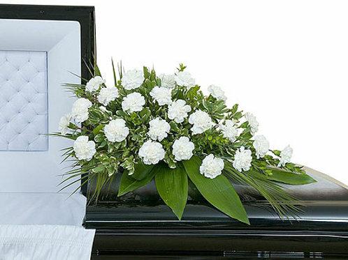 White Carnation Casket Spray