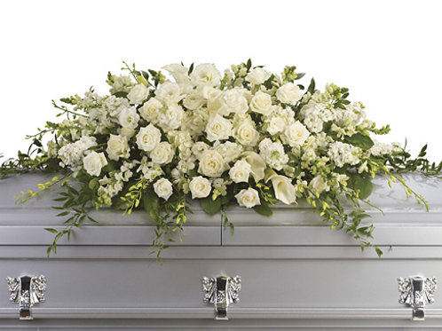 Elegant White Rose Casket Spray