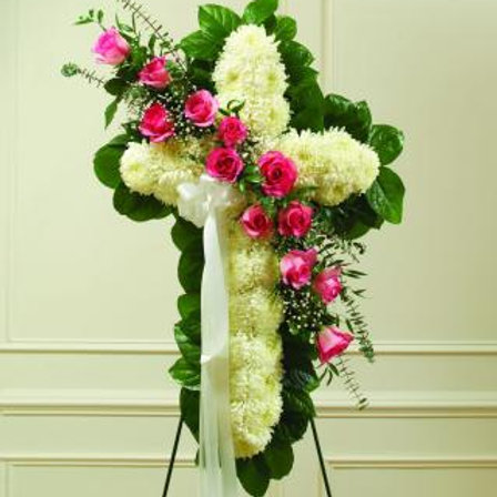 White Cross with Pink Roses