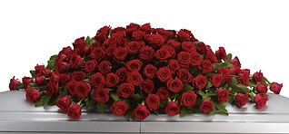 red rose casket spray