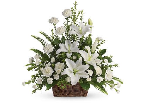 Mixed White Basket Arrangement