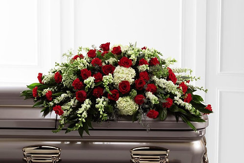 Mixed Red & Green Casket Spray