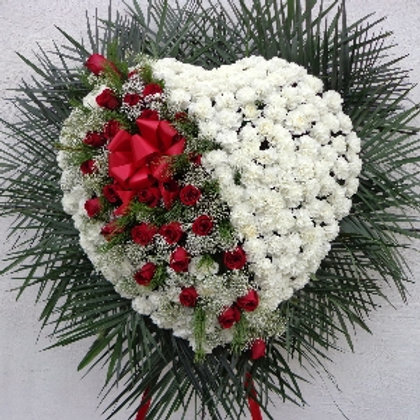 White Carnation Heart with Red Roses