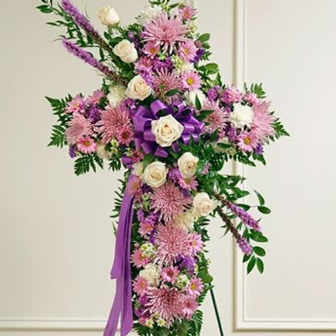 Lavender Cross with White Roses