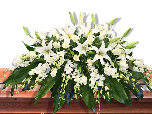 White Lily & Orchid Casket Spray