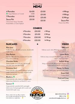 PancakesWings menu