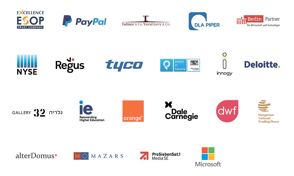 logos of previous Axis Tel Aviv partners, including Paypal, Microsoft, Mazars, ie, dwf, Dal Carnegie, DLA Piper, tyco, regus, innogy and more