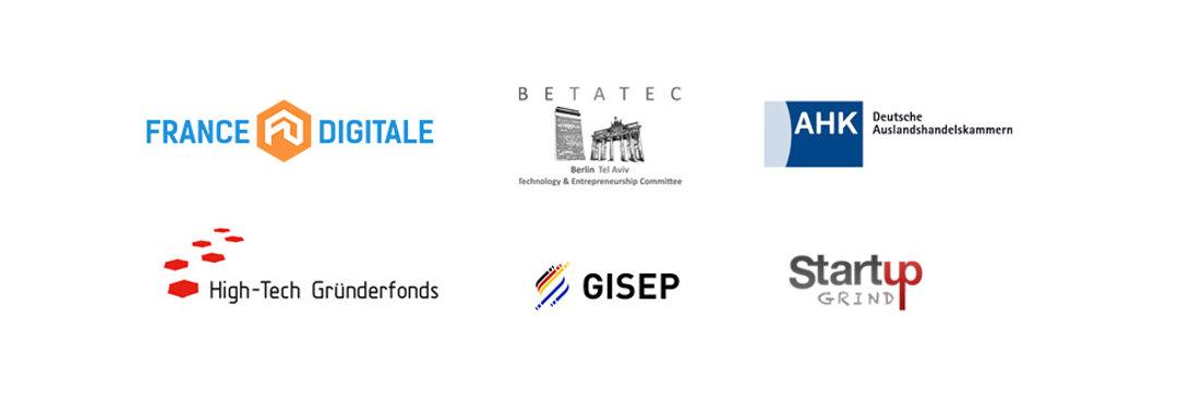 logos of France Digitale, Betatec, AHK, High-Tech Grunderfonds, GISEP, Startup GRIND