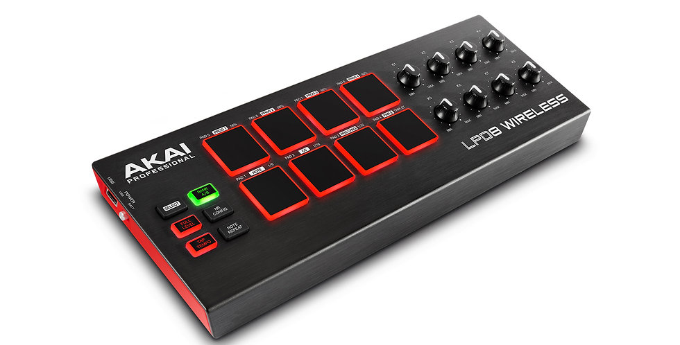AKAI LPD8 Wireless Battery-Operated/Wireless Bluetooth® MIDI Pad Controller