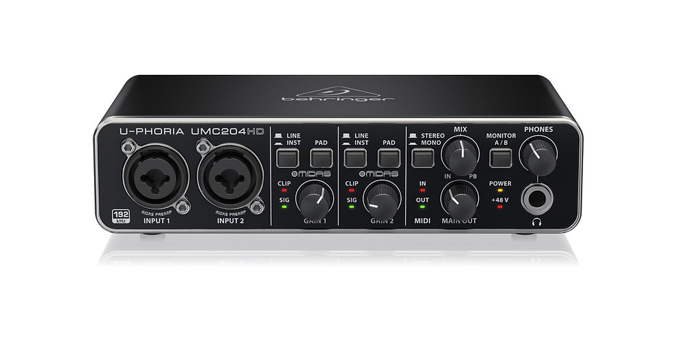 Behringer UMC204HD, 2x4 USB Audio/MIDI Interface