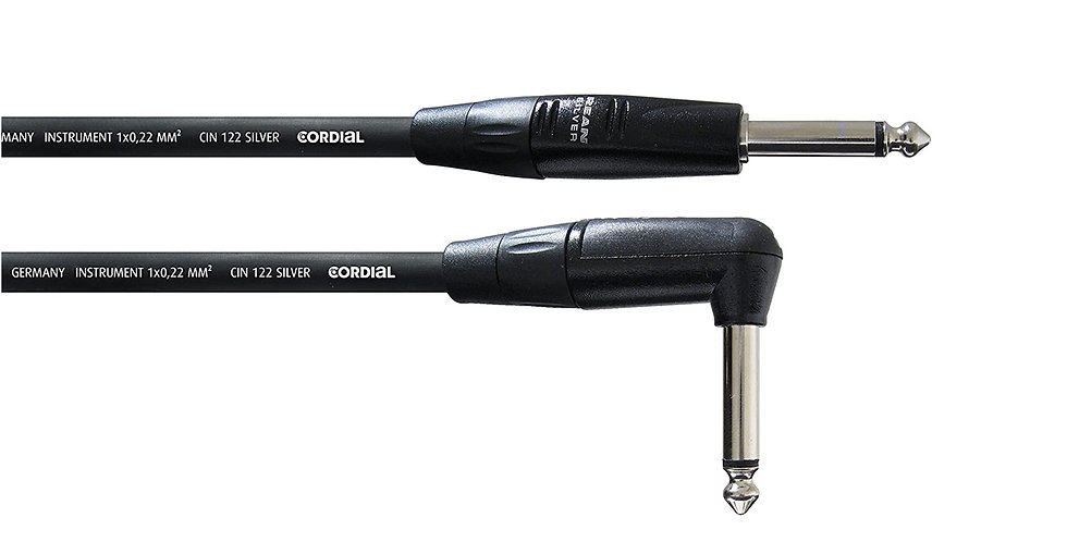 CORDIAL C II 9 PR Straight to Angled Instrument and guitar cable - 9 mtrs