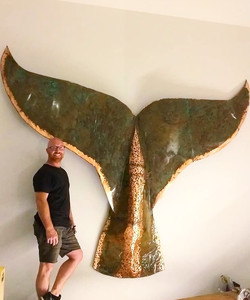 Copper and Patina Whale Tail 3mts