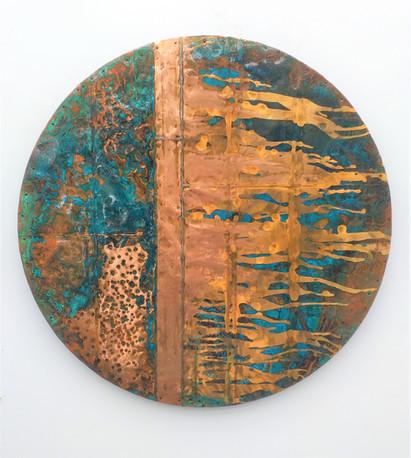 Copper and blue patina circle 1.2mts