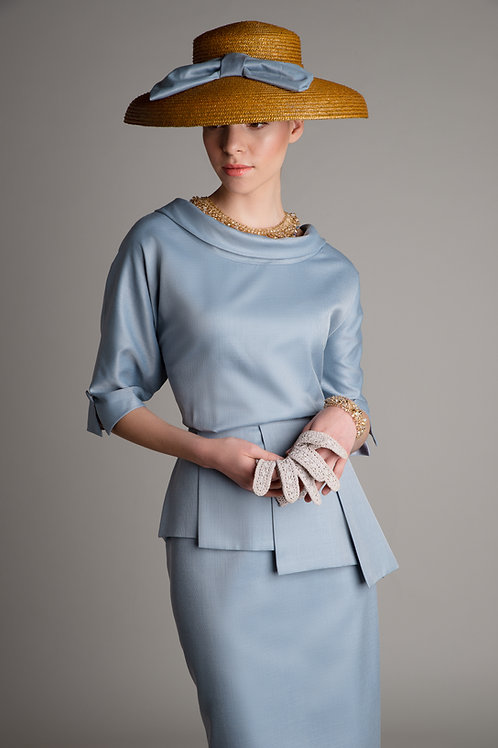 PEPLUM COWL DRESS