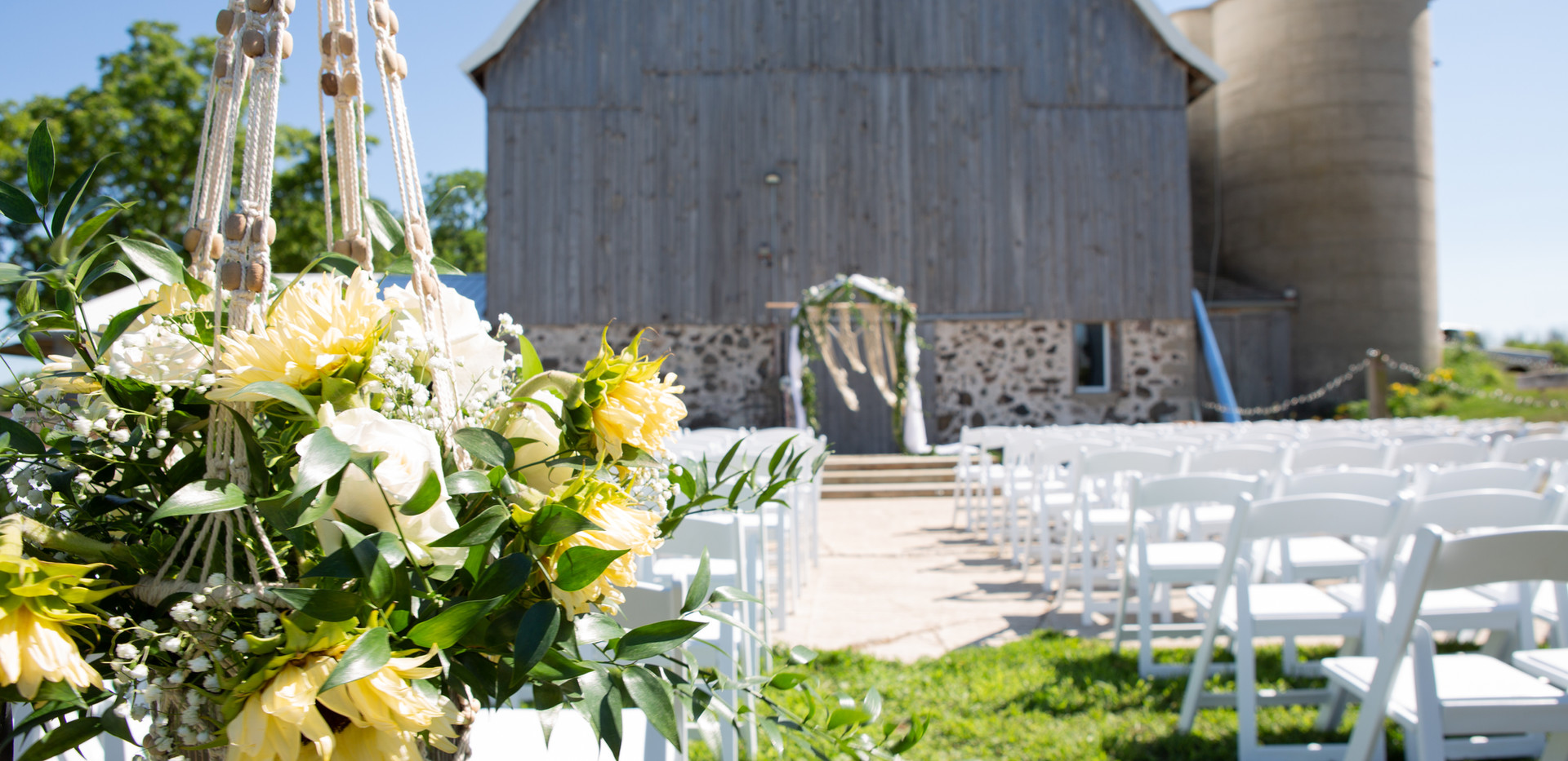 Ceremony Facing the barn