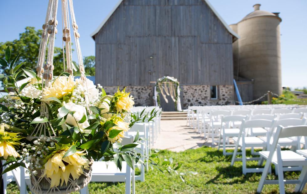 Ceremony Facing the barn