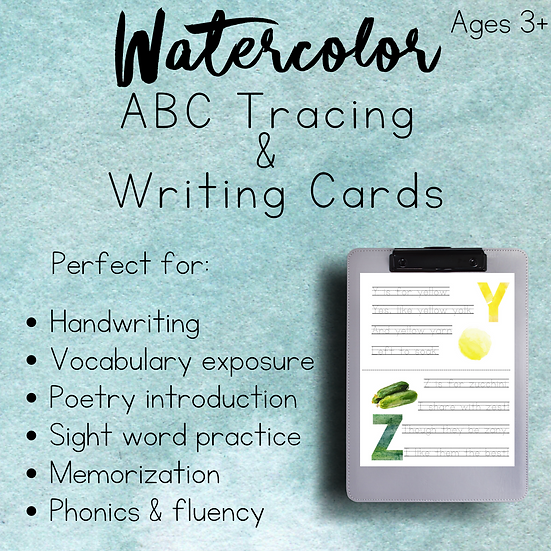 Watercolor ABC Cards || Writing & Tracing
