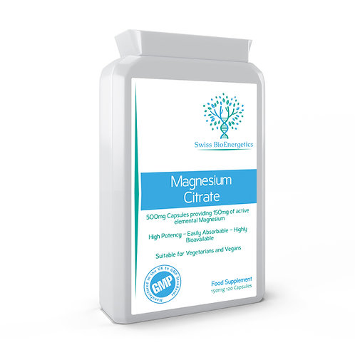 Magnesium Citrate 500mg 120 Capsules - providing 150mg of elemental Magne