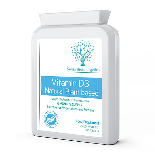 Vitamin D3  Natural Plant Based - 25µg ( 1000 IU )