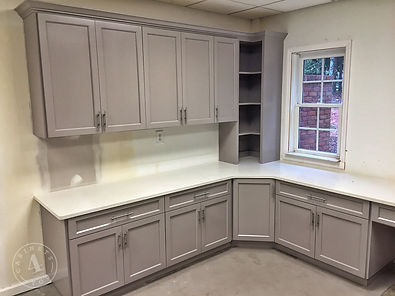 Custom office cabinets gray lacquer & quartz