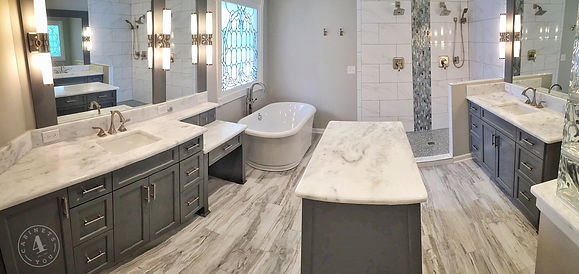 Gray shaker master bathroom custom cabinets
