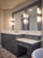 custom gray shaker master bath vanity