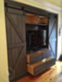 sliding barn door media cabinet built-in