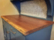 solid walnut top live edge on painted blue shaker