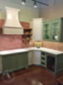 painted multi-color kitchen showroom custom cabinets
