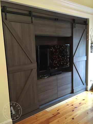 sliding barn door media cabinet built-in
