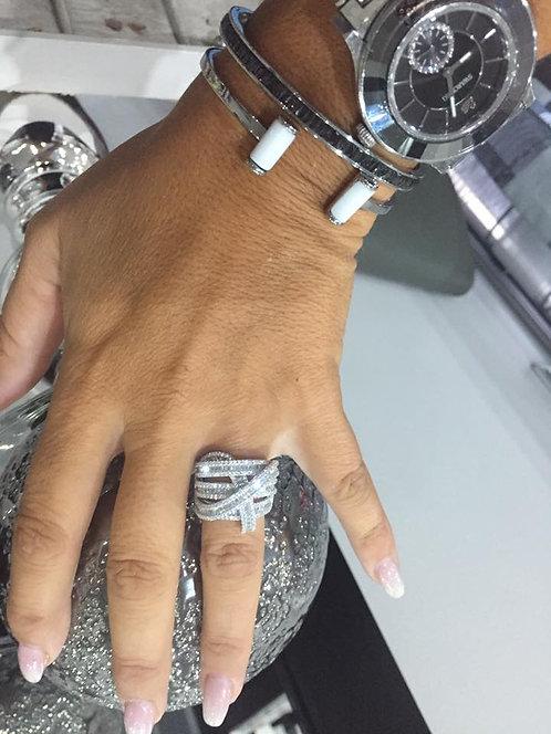 bague strass cristaux argent