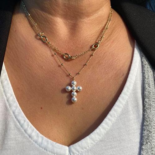 Collier croix perle