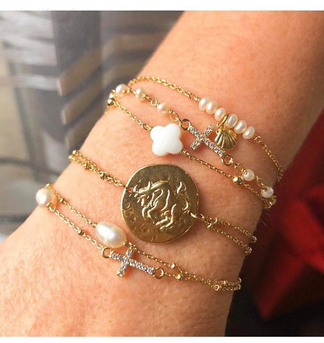 Bracelet double perle croix