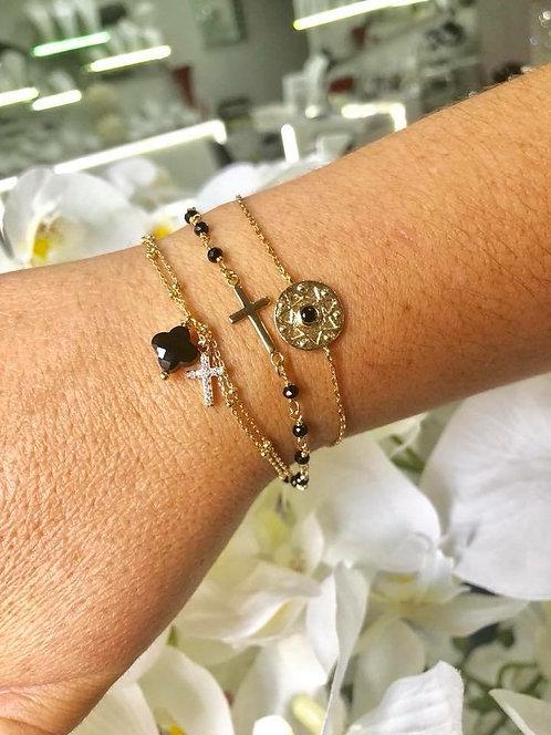 Bracelet double croix trèfle