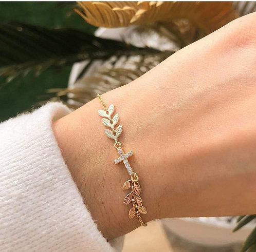 Bracelet croix feuille