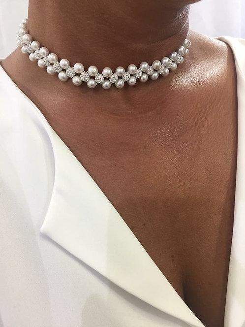Ras du coup perle strass