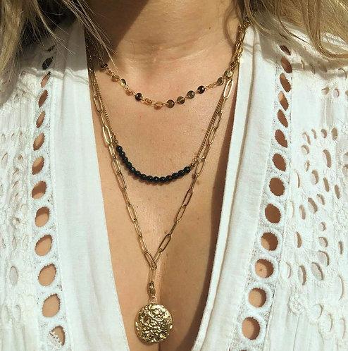 Collier 3 en 1 médaille perle noire