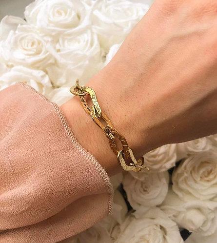 Bracelet chaine martelé acier