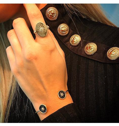 Bracelet jonc étoile noire