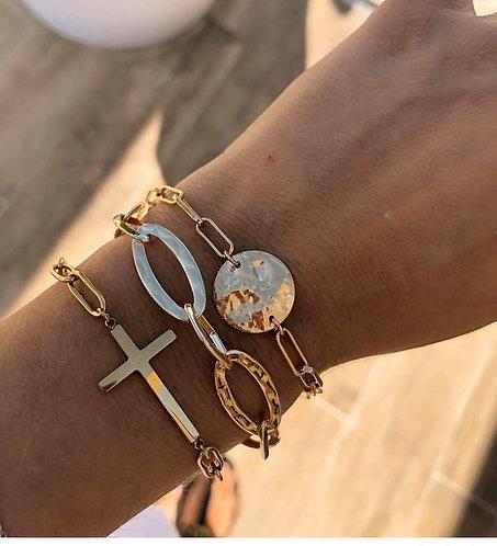 Bracelet chaine martelé