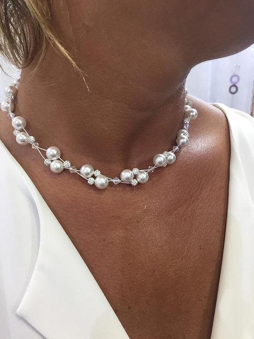 Collier perle strass torsuadé