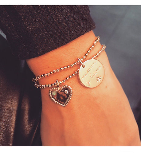 Bracelet coeur plaque