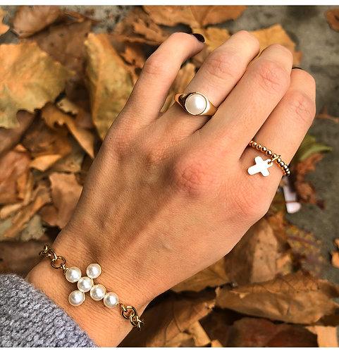 Bracelet croix chaine perle