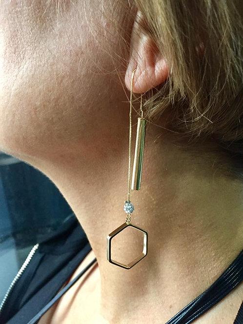 Boucle d'oreille hexagone