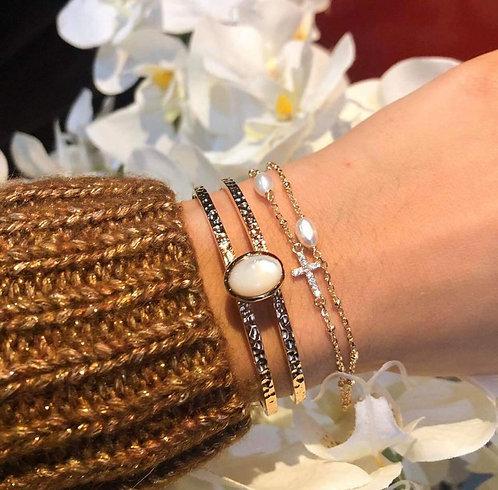 Bracelet double croix perle