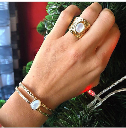 Bracelet jonc martelé perle