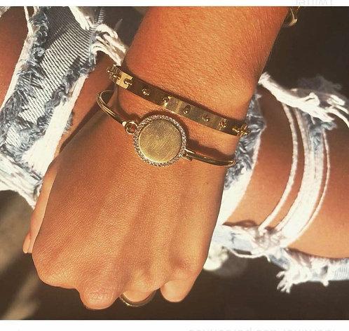 Bracelet jonc plaque