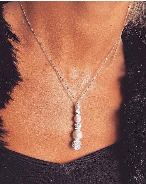 Collier goutte perle/strass