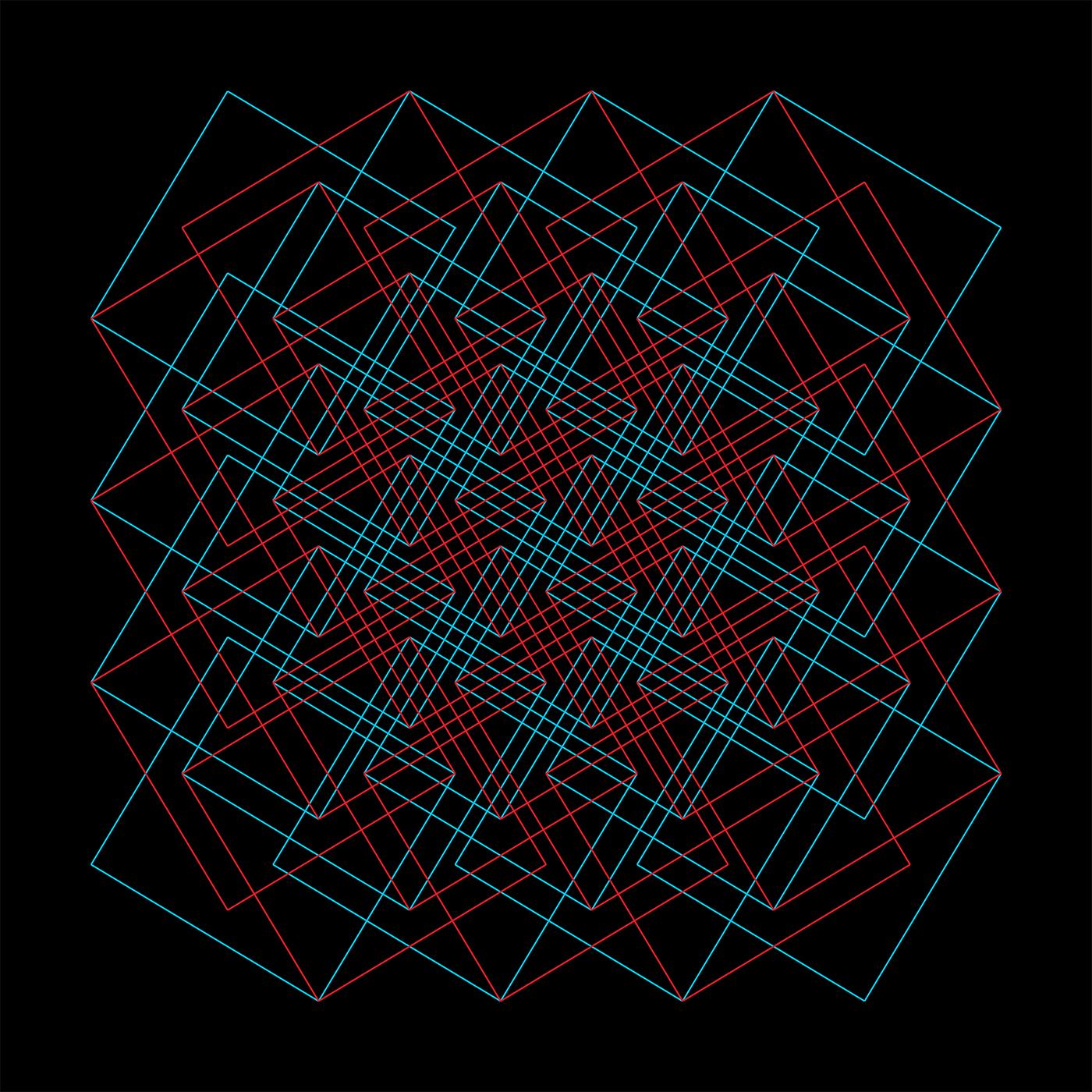 Grid Cyan Red